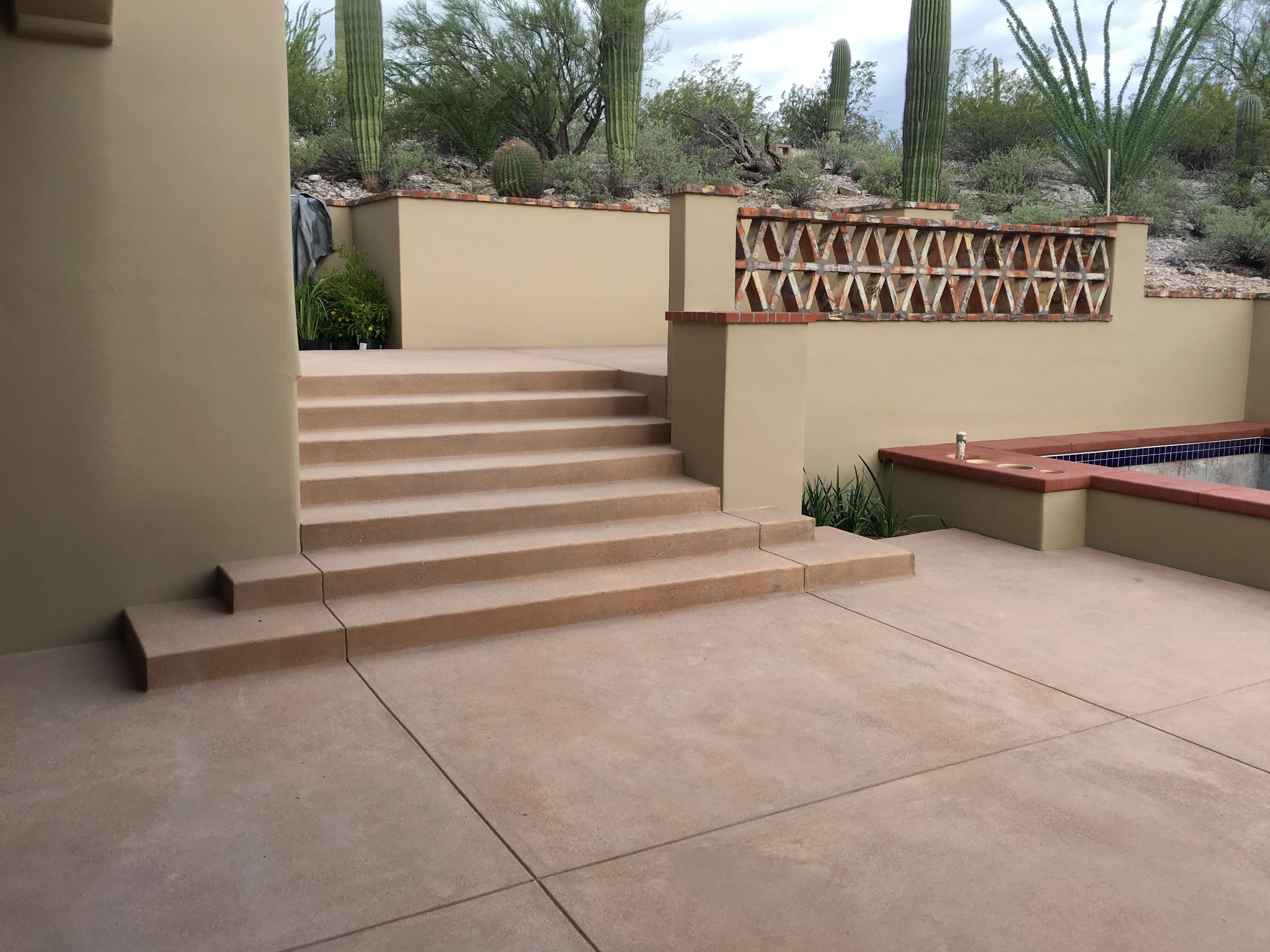Colored concrete patio and steps
